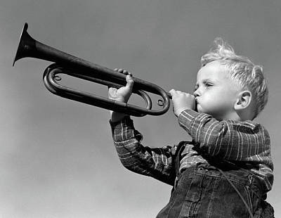 Trumpet Photograph - 1940s Boy Blowing Bugle Outdoor by Vintage Images