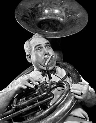 Sousaphone Photograph - 1940s Chubby Man Musician With Polka by Vintage Images