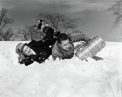 1940s Couple Laughing Falling Off Snow Art Print