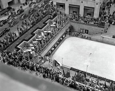 1940s Crowd Watching Skater Rockefeller Art Print