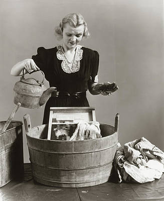 Wash Tub Photograph - 1940s Displeased Housewife Pouring by Vintage Images