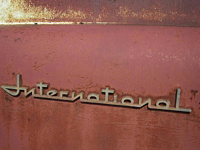 Side Panel Photograph - 1940s Era International Harvester Truck Insignia by Daniel Hagerman