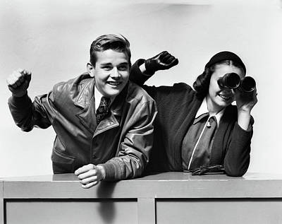 Teenage Girl Photograph - 1940s Excited Cheering Teenage Couple by Vintage Images