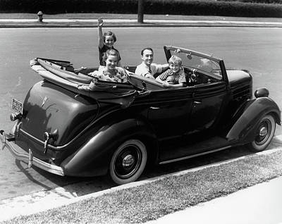 1940s Family Of Four In Convertible Art Print