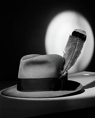 1940s Fedora Hat With Feather In Band Art Print