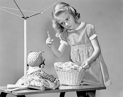 Doll Photograph - 1940s Girl Shaking Her Finger At Doll by Vintage Images