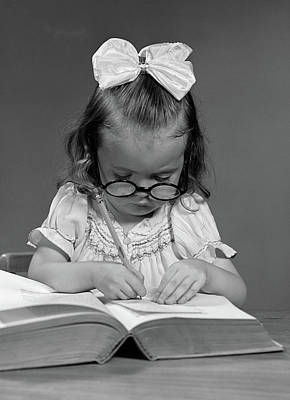 Ledger Books Photograph - 1940s Girl With Big Round Glasses by Vintage Images