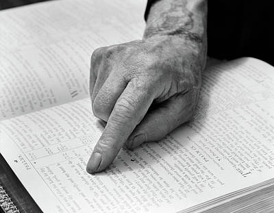 1940s Hand Of Elderly Man Reading Bible Art Print
