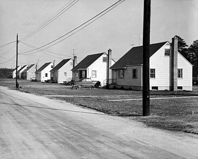 Telephone Poles Photograph - 1940's Housing Development by Underwood Archives