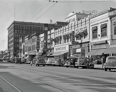 Storefront Photograph - 1940s Kansas Street Shopping District by Vintage Images