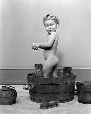 Washtub Photograph - 1940s Little Blond Girl Standing by Vintage Images