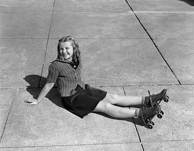 Figure Skater Photograph - 1940s Little Girl Fallen Sitting by Vintage Images