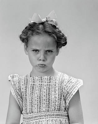 1940s Little Girl Looking Sad Pouting Art Print