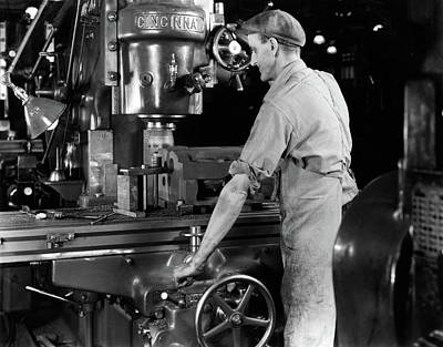 Drill Presses Photograph - 1940s Man Worker Operating Large by Vintage Images