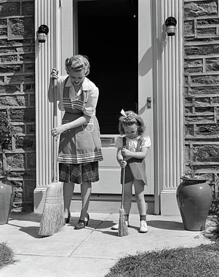 1940s Mother And Daughter Sweeping Art Print