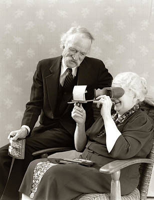 Stereopticon Photograph - 1940s Older Senior Couple Man Woman by Vintage Images