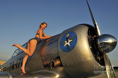 Photograph - 1940s Pin-up Girl Standing On The Wing by Christian Kieffer
