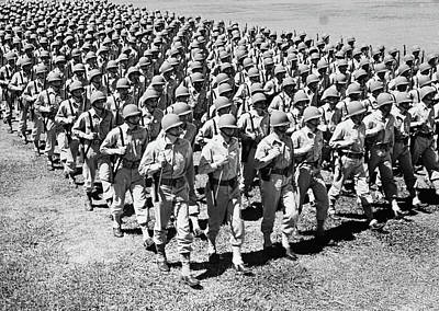 Infantryman Photograph - 1940s Ranks And Files Rows Of World War by Vintage Images