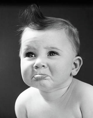 1940s Sad Baby With Pouting Lower Lip Art Print