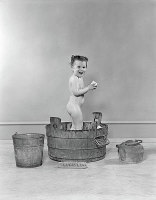 Washtub Photograph - 1940s Side View Of Preschool Little by Vintage Images