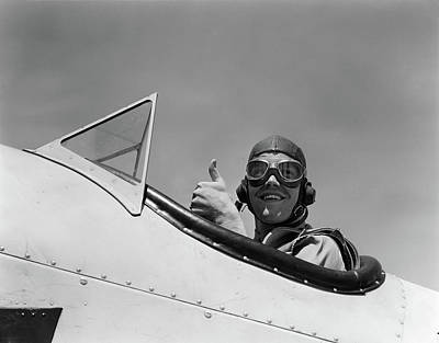 World War Ii Airplane Photograph - 1940s Smiling Army Air Corps Pilot by Vintage Images
