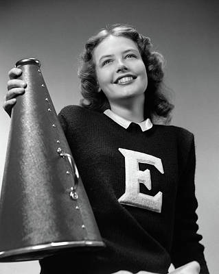 College Girls Wall Art - Photograph - 1940s Smiling Girl Wearing A Varsity by Vintage Images
