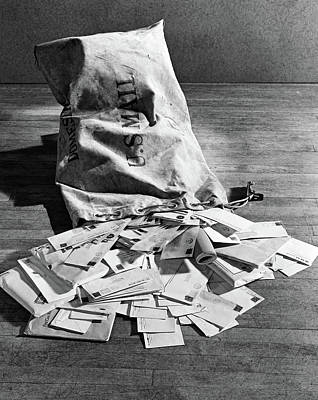 Old Post Office Photograph - 1940s Still Life Of Full Mail Bag by Vintage Images