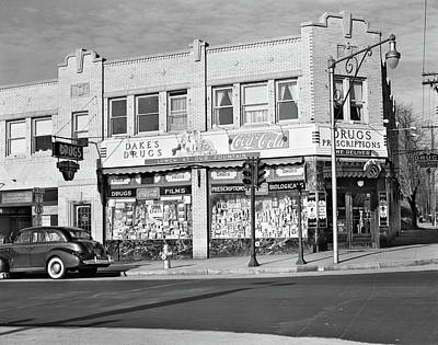 Storefront Photograph - 1940s Storefront Drugstore Windows Full by Vintage Images