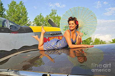 Sex Symbol Photograph - 1940s Style Pin-up Girl With Parasol by Christian Kieffer