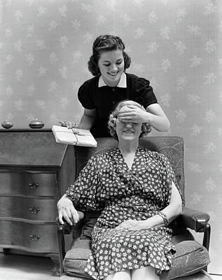 1940s Two Women Smiling Daughter Art Print