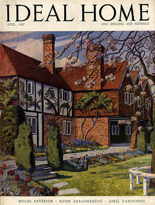 1940s Uk Ideal Home Magazine Cover Art Print