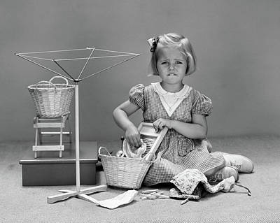 Washboard Wall Art - Photograph - 1940s Unhappy Little Blond Girl Playing by Vintage Images