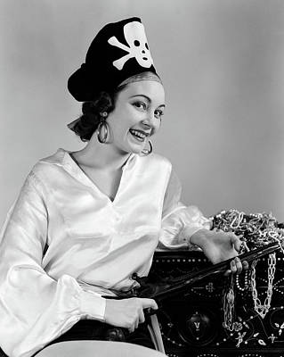 Loot Photograph - 1940s Woman Wearing Pirate Costume by Vintage Images