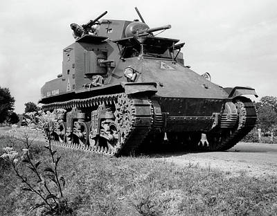 Driving Machine Photograph - 1940s World War II Era Us Army Tank One by Vintage Images
