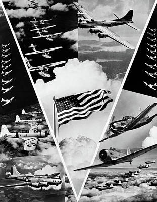 World War Ii Airplane Photograph - 1940s World War II Victory In The Air by Vintage Images