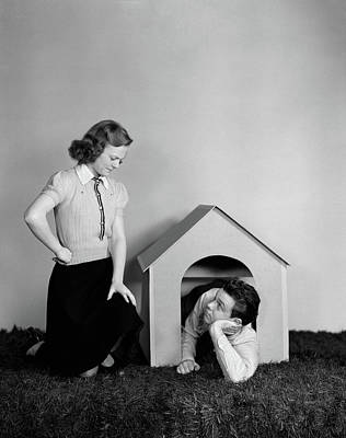 Teenage Girl Photograph - 1940s Young Teenage Couple Arguing Girl by Vintage Images
