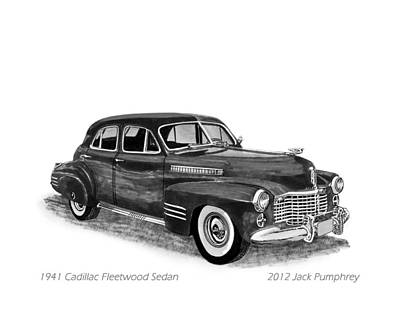 Cars From The 30s Painting - 1941 Cadillac Fleetwood Sedan by Jack Pumphrey
