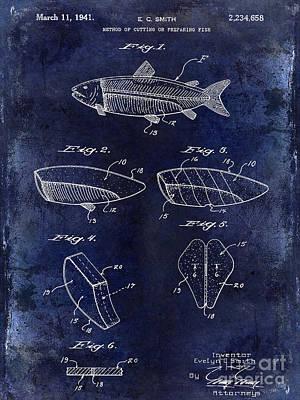 Cape Cod Photograph - 1941 Fish Cleaning Patent Patent Drawing Blue by Jon Neidert
