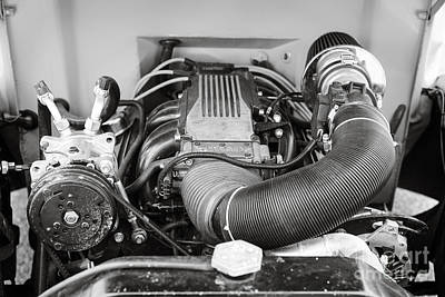 Photograph - 1941 Ford Pickup Engine Motor  Classic Automobile In Sepia 3082.01 by M K Miller