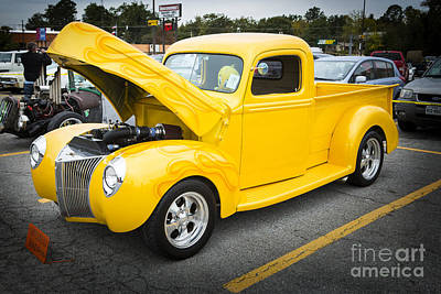 Photograph - 1941 Ford Pickup Truck Classic Automobile In Color Yellow  3079. by M K Miller