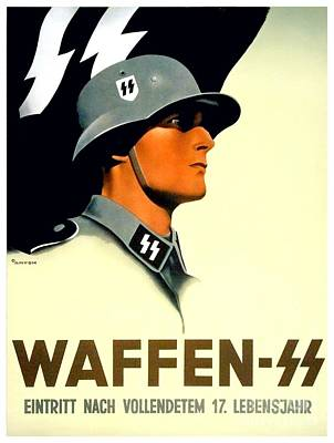 1941 - German Waffen Ss Recruitment Poster - Nazi - Color Art Print