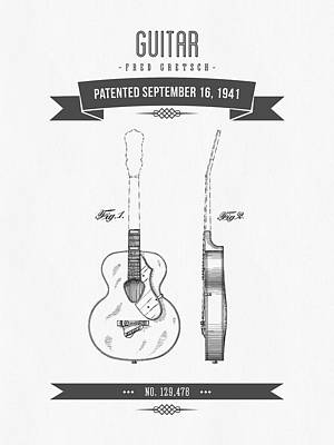 1941 Guitar Patent Drawing Art Print by Aged Pixel