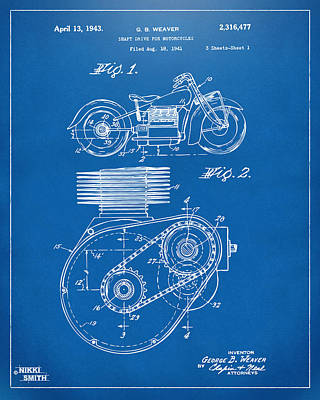Drawing - 1941 Indian Motorcycle Patent Artwork - Blueprint by Nikki Marie Smith