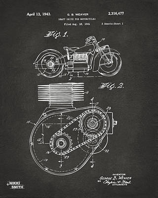 Digital Art - 1941 Indian Motorcycle Patent Artwork - Gray by Nikki Marie Smith