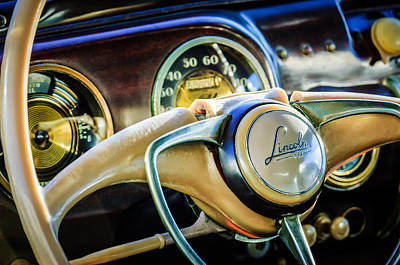 Lincoln Photograph - 1941 Lincoln Continental Coupe Steering Wheel Emblem -0858c by Jill Reger