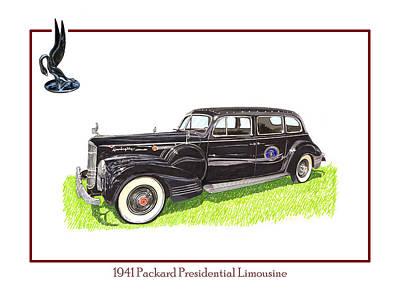 George Washington Drawing - 1941 Packard 180 Presidential Limousine by Jack Pumphrey