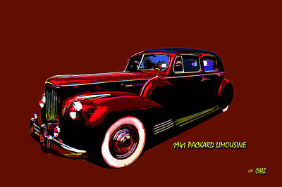 Popstar And Musician Paintings Royalty Free Images - 1941 Packard Limousine Royalty-Free Image by CHAZ Daugherty