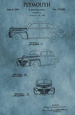 Antique Automobiles Mixed Media - 1941 Plymouth Patent Blue by Dan Sproul