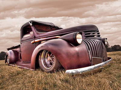 Old Chevy Photograph - 1941 Rusty Chevrolet by Gill Billington