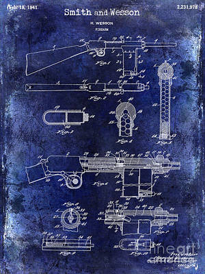 Smith And Wesson Photograph - 1941 Smith And Wesson Firearm Patent Drawing Blue by Jon Neidert
